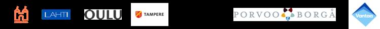 Hankkeen osallistujakuntien logot: Hämeenlinna, Lahti, Oulu, Tampere, Turku, Porvoo, Vantaa.