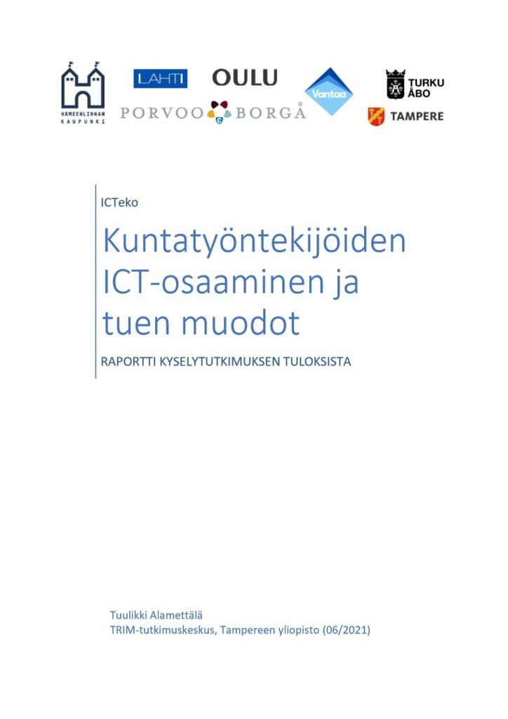 Raportin kansilehti, jossa raportin otsikon ja tekijätiedon lisäksi kuntien logot: Hämeenlinna, Lahti, Porvoo, Oulu, Vantaa, Turku, Tampere.